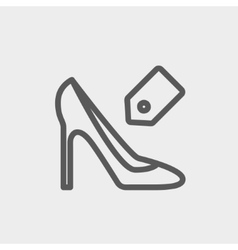 Shoe with tag thin line icon vector image