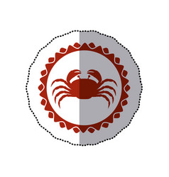 Sticker red stamp border with silhouette of crab vector