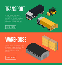 transport and warehouse isometric banners set vector image