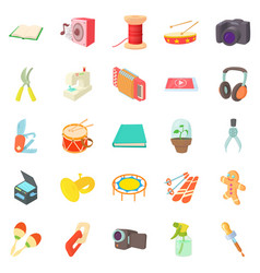 Video hobby icons set cartoon style vector