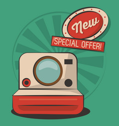Vintage photo camera technology retro poster vector