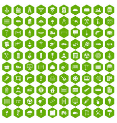 100 building materials icons hexagon green vector