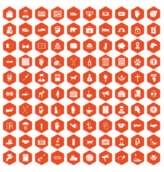 100 donation icons hexagon orange vector
