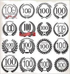 100 years anniversary laurel wreaths vector
