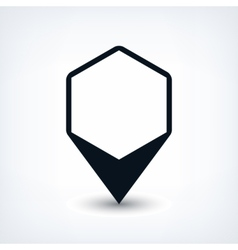 Black map pin flat location sign hexagon icon vector