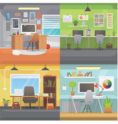 Office interiors horizontal banners bussines vector