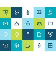 Office icons set flat vector