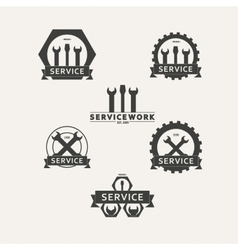Set of simple emblems workshop maintenance vector