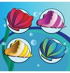 Sea shells - set of four elements vector