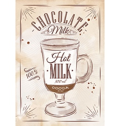 Poster chocolate milk kraft vector
