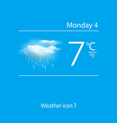 Realistic weather icon clouds with rain vector