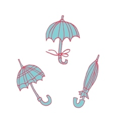 Cartoon umbrellas flat sticker icon vector
