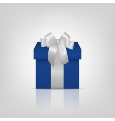 Blue square gift box with silver ribbon and bow vector