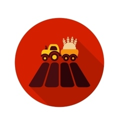 Tractor on field flat icon with long shadow vector