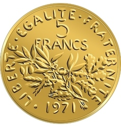 French money coin ffive francs obverse vector