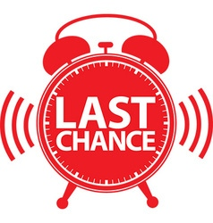 Last chance alarm clock icon vector