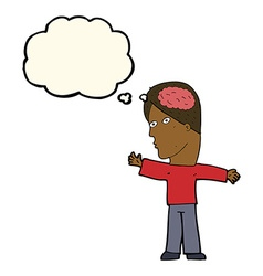Cartoon man with brain with thought bubble vector