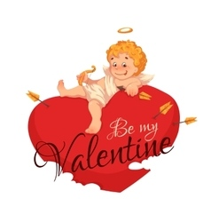 Happy valentine day heart with cherub vector