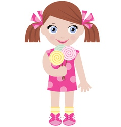 Little girl with sugar candies vector