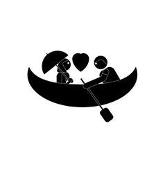 flat icon in black and white style boy girl Boat vector image
