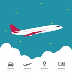 Global airline infographic with cloud vector