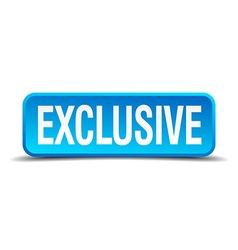 Exclusive blue 3d realistic square isolated button vector