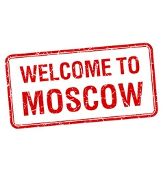 Welcome to moscow red grunge square stamp vector