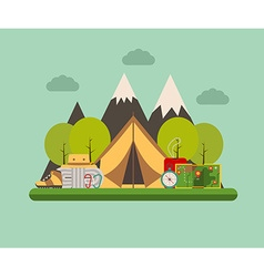 Tramping and Camping Concept Background vector image