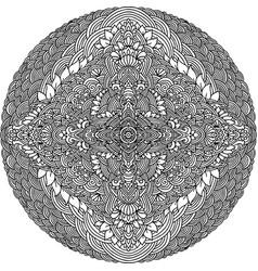 Abstract mandala ornament asian pattern black vector