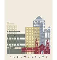 Albuquerque skyline poster vector image vector image