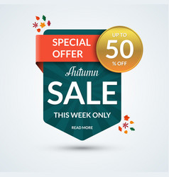 autumn sale and special offer banner vector image vector image