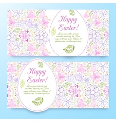 Beautiful easter banners set with eggs vector image