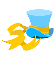 Blue wizard hat with a long yellow ribbon the old vector