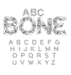 Bone abc skeleton font letters anatomy skull and vector