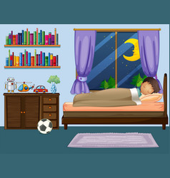 boy sleeping in bedroom at night vector image vector image