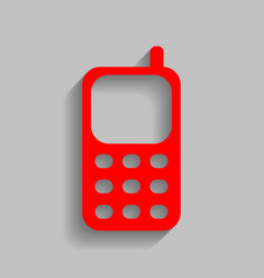 Cell phone sign red icon with soft shadow vector