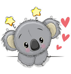 Cute drawing koala on a white background vector