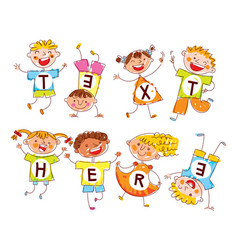 cute happy kids in style of childrens drawings vector image