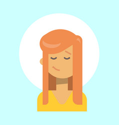 female closed eyes emotion profile icon woman vector image vector image