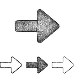 Forward icon set - sketch line art vector image
