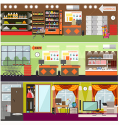 Grocery store supermarket home interior vector