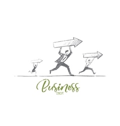 Hand drawn business people running with indicators vector