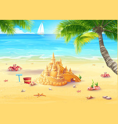 Holiday by the sea with sand castle vector