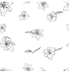 lily flowers hand drawn in contour seamless vector image vector image