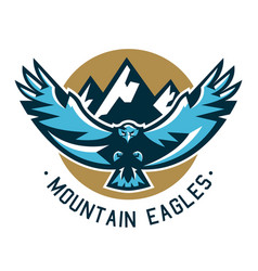 Logo eagle hawk flying in the mountains wild vector