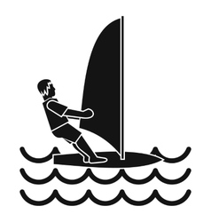 Man on windsurf icon simple style vector image