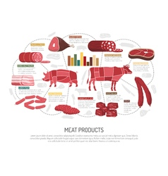 Meat market products flat infographic poster vector