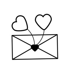 Message letter heart lovely outline vector