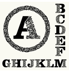 Monogram in Baroque and set 1 of capital letters vector image