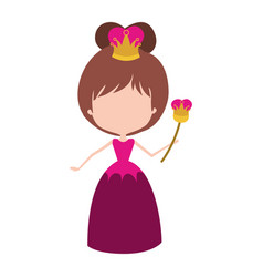 Queen without face and crown and scepter in dress vector